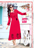 Stylishly Fashionable Red Colored Rayon Designer Readynmade Kurti