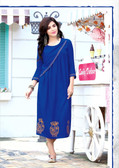 Stylishly Fashionable Blue Colored Rayon Designer Readynmade Kurti