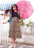 Colorful & Lovely Blue Colored Cotton Printed Readymade Kurti