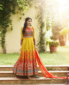 Vibrant & Irresistible  Yellow Multi Colored Designer Semi Stitched Salwar Suit