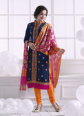 Chic & Trendy Navy Blue Colored Khadi Cotton Suit