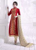 Chic & Trendy Red Colored Khadi Cotton Designer Suit