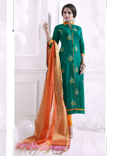 Chic & Trendy Green Colored Khadi Cotton Designer Suit