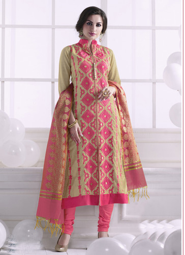 Chic & Trendy Beige Colored Khadi Cotton Suit