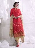 Chic & Trendy Red Colored Khadi Cotton Premium Suit