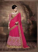 Alluring & Graceful Royal Pink Color Georgette, Gota & Net Saree