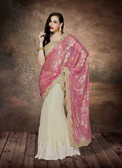 Alluring & Graceful Off White & Pink Color Net & Fancy Lycra Saree