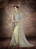 Alluring & Graceful Grey & Off Yellow Color Silk Chiffon & Net Saree