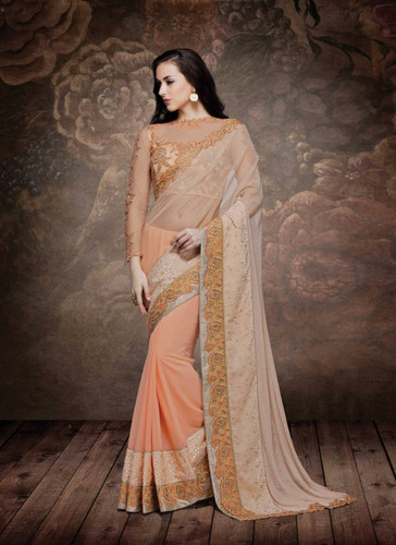 Alluring & Graceful Light Orange Color Net, Georgette & Fancy Velvet Saree
