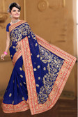 Attractive & Classy Navy Blue Colored Georgette Saree