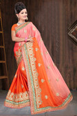 Attractive & Classy Orange & Pink Colored Rangoli Silk Padding Designer Saree