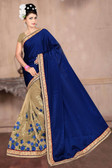 Attractive & Classy Navy Blue & Beige Colored Net Saree