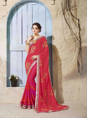 Bright & Graceful Red Colored Georgette Saree