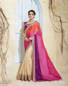 Bright & Graceful Orange & Beige Colored Georgette Saree