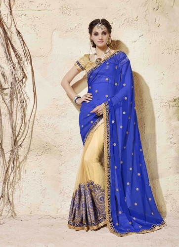 Bright & Graceful Blue & Beige Colored Georgette Saree