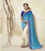 Bright & Graceful Blue & Off white Colored Georgette Saree