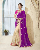 Bright & Graceful Purple & Biege Colored Georgette Saree