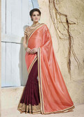 Bright & Graceful Orange & Brown Colored Georgette Saree