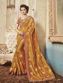 Delightfully Classy Golden Chiku Colored Silk Saree