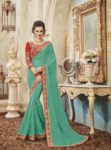 Delightfully Classy Sky Blue Colored Georgette Saree