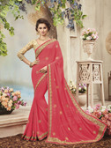 Delightfully Classy Light Pink Colored Semi Georgette Saree