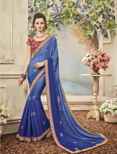 Delightfully Classy Sky Blue Colored Chiffon Saree