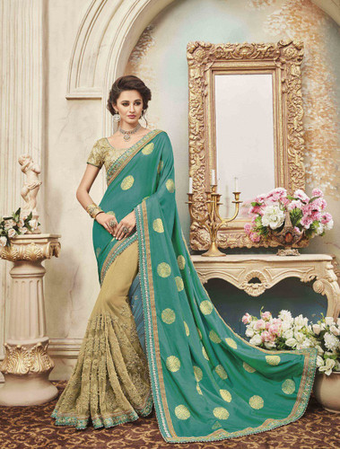 Delightfully Classy Sky Green & Biege Colored Two Tone Silk Saree