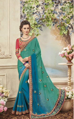Delightfully Classy Sky Green & Blue Colored Silk & Chiffon Saree