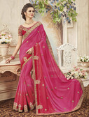 Delightfully Classy Pink Colored Silk Saree