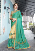 Vibrant & Elegant Sea Green & Cream Colored Georgette Designer Embroidery Work Saree