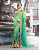 Vibrant & Elegant Light Green Colored Georgette Designer Embroidery Work Saree