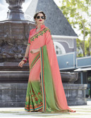 Vibrant & Elegant Light Pink & Green Colored Georgette Designer Embroidery Work Saree