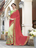 Vibrant & Elegant Pink & Light Green Colored Georgette Designer Embroidery Work Saree
