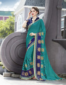 Vibrant & Elegant Teal Green Colored Georgette Designer Embroidery Work Saree