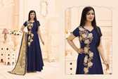 Stylish & Vibrant Navy Blue Colored Viscose Satin Suit