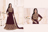 Stylish & Vibrant Dark Brown Colored Georgette Suit