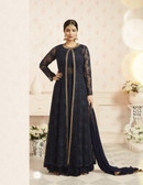 Charming & Trendy Dark Grey Black Colored Georgette Anarkali Suit