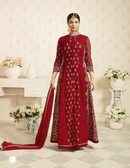 Charming & Trendy Red Colored Georgette Anarkali Suit