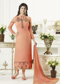 Elegant & Catchy Light Orange Colored Georgette Suit