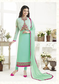 Elegant & Catchy Sky Blue Colored Georgette Suit