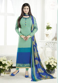 Elegant & Classy Sky Green & Blue Colored Crepe Suit