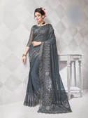 Gorgeous Alluring Grey Colored Georgette & Net Designer Embroidery Work Saree