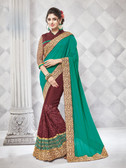 Gorgeous Alluring Green & Brown Colored Georgette Designer Embroidery Work Saree