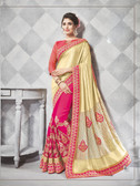 Gorgeous Alluring Cream & Pink Colored Georgette & Lycra Designer Embroidery Work Saree