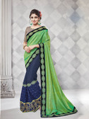 Gorgeous Alluring Green & Blue Colored Georgette & Net Designer Embroidery Work Saree