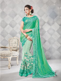 Gorgeous Alluring Light Green Colored Georgette Designer Embroidery Work Saree