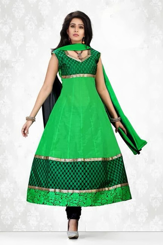 Indian Bollywood Pakistani Chanderi Salwar Kameez Suit Green with Black