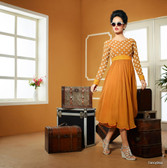 Yellow Color Pure Bamberg Georgette Kurti Dress