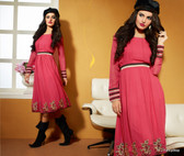 Dusty Pink Color Pure Bamberg Georgette Kurti Dress