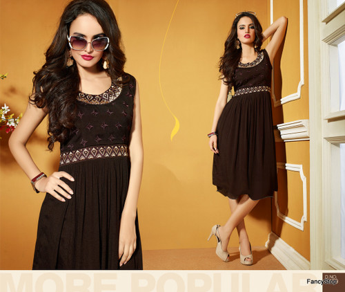 Brown Color Pure Bamberg Georgette Kurti Dress